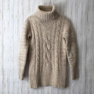 michael stars Beige Chunky Wool Turtleneck Sweater